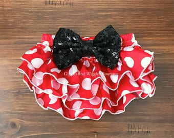 Red and white polka dot baby bloomers, mouse birthday, infant bloomers, baby diaper cover, baby bows, black bow, easter outfit