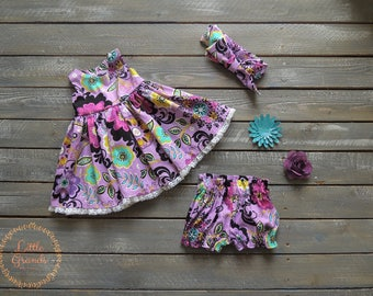 3-6 Month Purple Floral Dress and Bloomers Set