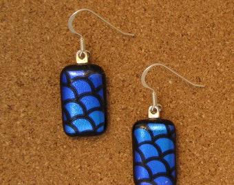 Dichroic Glass Earrings - Seashell Earrings - Fused Glass Earrings - Dichroic Jewelry - Fused Glass Jewelry - Beach Jewelry