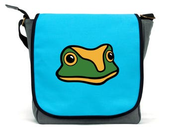 Frog Bag | Blue, Pink and Grey | Waterproof Canvas