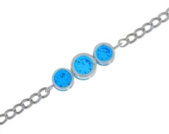 2 Carat Swiss Blue Topaz Round Bezel Bracelet .925 Sterling Silver White Gold Quality