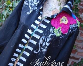 HAND PAINTED wearable funky art oversize shirt Hot Pink Flower