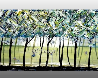 Abstract Landscape Tree Painting Original Modern Art Scenic Home Decor Wall Art Wall Hanging Amazon Forest Art Wall Decor made to order