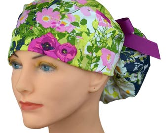 Scrub Hats // Scrub Caps // Scrub Hats for Women // The Hat Cottage // Ponytail // English Garden