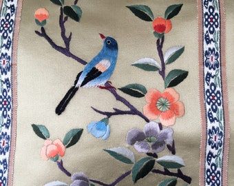 Embroidered satin silk birds oriental scene good for wall hanging