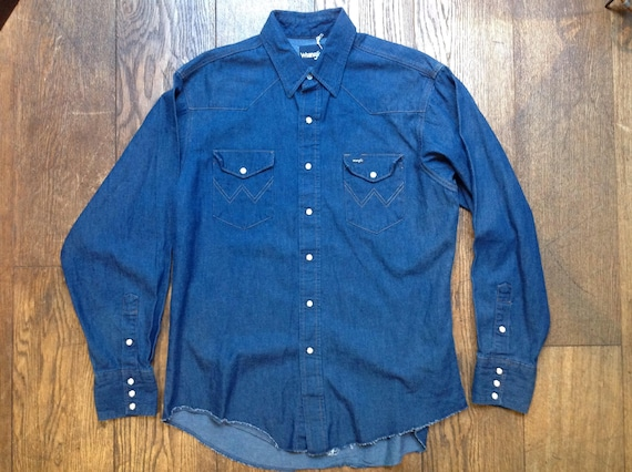 "Vintage Wrangler blue indigo denim Western cowboy shirt 48"" chest"