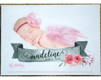 Baby Announcement - Photo Cards - DIY Photocard - Printable Photocard Baby Annoucement - Watercolor Banner with Flowers Baby Announcement