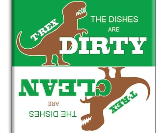 Guajolote Prints Clean Dirty Dishwasher Magnet 2.5 x 2.5 inches T-Rex