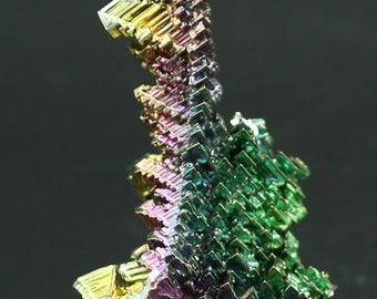 Bismuth, iridescent laboratory-grown crystals, Mineral Specimen for Sale