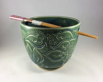 Ceramic Noodle Bowl with Dahlia Carving in Teal, Chopsticks Included, Ready to Ship