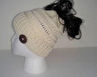 Messy Bun Beanie Cream Ponytail Hat