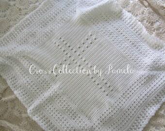 "Crochet Christening Blanket Cross III PDF ePattern Baby Afghan Christening Gift 28"" x 32"" (71 cm x 81 cm) approx"