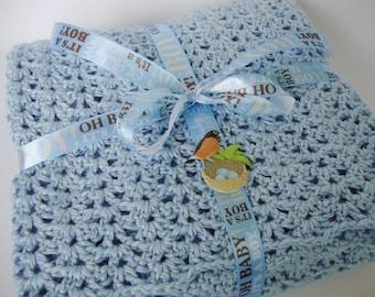 Crochet Baby Blanket, Baby Blanket Crochet, Baby Blanket, Blue Baby Blanket, Crib Size Blanket, Baby Gifts, Acrylic Blanket, Baby Boy Gift