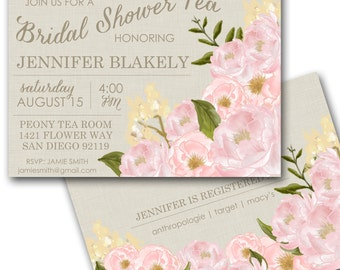 Bridal Shower Tea Invitation - Peony floral Wedding Shower Invite customized and personalized - digital file