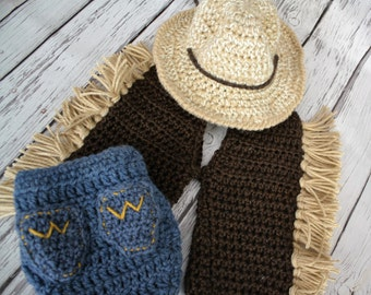 Baby Cowboy Set, Cowboy Hat, Cover and Chaps Set -  Western Baby Hat, Chaps and Cover Set - Western Wrangler Photo Prop - by JoJo's Bootique
