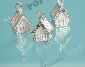 1 - 3D Home Sweet Home Pink Cottage Home House Charm, House Charm, 19mm x 16mm (3-1C)