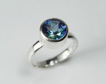 Mystic Topaz Engagement Ring - Sterling Silver Mystic Topaz Ring - Unique Gemstone Engagement Ring - Galaxy Ring Mystic Topaz Solitaire