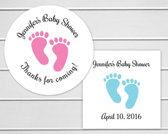 Baby Shower Stickers, White Baby Girl Shower Stickers, Baby Boy Shower Thank You Stickers (#231)