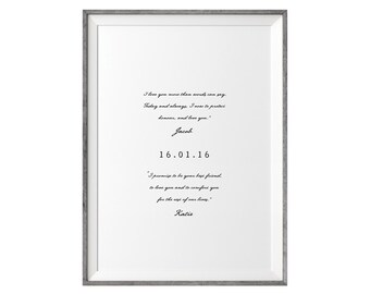 PRINTABLE Valentines Day Gift. Wedding Vows Keepsake Print for Newlyweds & Anniversaries - Love Notes