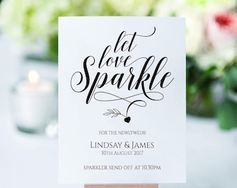 A4 Personalised Sparkler sign for weddings, Anniversaries, Parties - white, Ivory or kraft brown