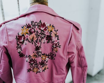 Vintage Pink Leather Motorcycle Jacket with Hand-Painted Garden Skull // Kids Large - Women's XS