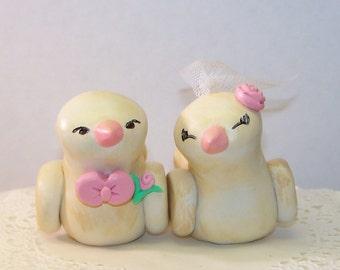 Custom Wedding Cake Topper Romantic Love Birds - Antiqued - Choice of Colors