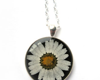 White Daisy Resin Pendant Necklace - Real Pressed Flower Encased in Resin - Pressed Flower Jewelry - Daisy Pendant - Flower Necklace