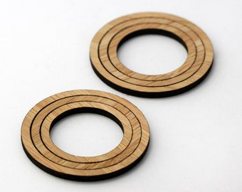 6 Concentric Circle Wood Beads : Bamboo