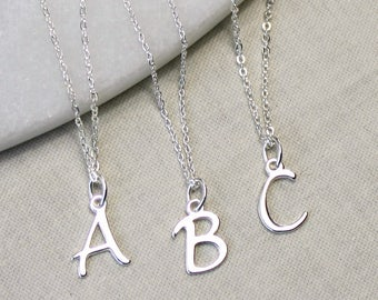 Sterling Silver Initial Necklace,personalized necklace,initial necklace,silver necklace,bridesmaid gift, wedding necklace,