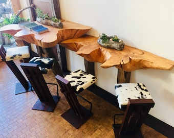 Wooden counter with metal cowhide bar Stool