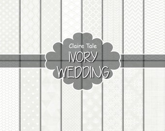 "Wedding digital paper: ""IVORY WEDDING"" with damask, crosshatch, quatrefoil, flowers, lace, polka dots, triangles, stripes patterns"
