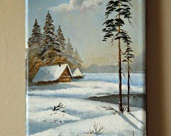 "Original Landscape Oil Painting  ""Winter Day"""