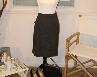 Vintage, 1940s, 1950s, Grey, A Line, Skirt, Wiggle Skirt, Pencil Skirt, Pin Up, Bombshell, Rockabilly, Made Men
