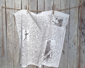 Owl Kitchen Towel - Tea Stained - Screen Printed