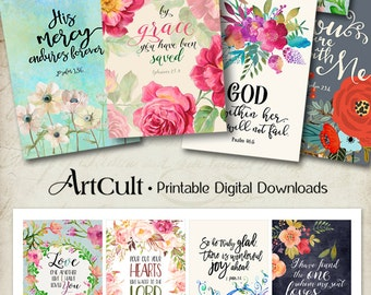 "Printable download BIBLE VERSES TAGS No.3 Scripture Art 2.5""x3.5"" size hang tags digital collage sheet greeting cards ArtCult designs"