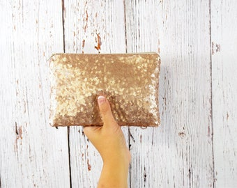 Champagne Sequin Clutch- Bridesmaid Clutch- Bridesmaid Gift- Clutch Bag- Clutch - Bridesmaid Proposal- Bridal Clutch- Maid of Honor Gift