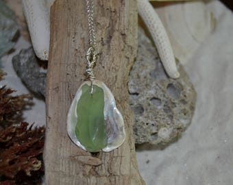 Green Sea Glass and Shell