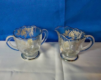012918 04 Silver City Floral Decorated Creamer and Sugar