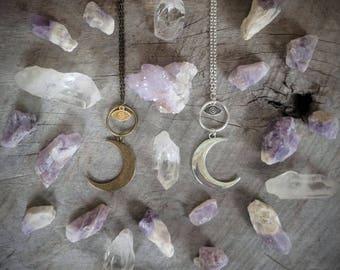 SALE Crescent Moon Necklace - Evil Eye - Pendant - Talisman - Jewelry - Witchy - Goth - Celestial - Amulet - Silver - Bronze - Boho