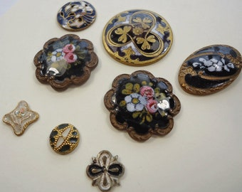 Antique enamel buttons - dramatic black   (Ref D262)