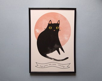 Salem print - Black cat  - A4 art print - cat print - cat illustration - i like cats - Salem - Sabrina the teenage witch - cats - salem
