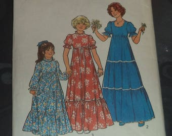 dress pattern from maid of honor or mother to daughter size 4 to 12 years