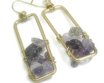 Amethyst Dangle Earrings Raw Amethyst Bohemian Dangle Earrings Rectangle Earrings Boho Jewelry Hippie Indie Purple Gypsy February Birthstone