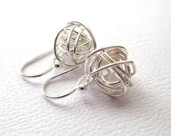 Mini Tangled Earrings, Wire Ball Earrings, Sterling Silver, Silver Earrings, Simple Everyday Jewelry