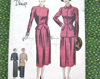 1940s Vogue Special Design S-4814 dress, jacket, skirt Vintage Sewing Pattern  bust 38, hip 41 inches