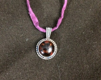 Tortoiseshell Brown Mini-Medallion Glass Pendant