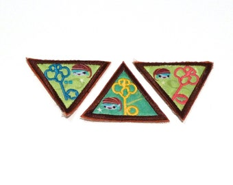 Brownie Patch Set of 3 Key and Lock Girl Scout Fabric Patch Cute Kawaii Elf Printed Satin patch Pixie stocking cap Big Eye Journey Quest