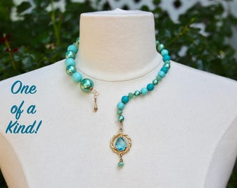Turquoise Open Collar Necklace, Statement, Upcycled, Unique, Hand Wired, Aquamarine Gold, Pearl, Beaded, OOAK, Jennifer Jones - Seascape
