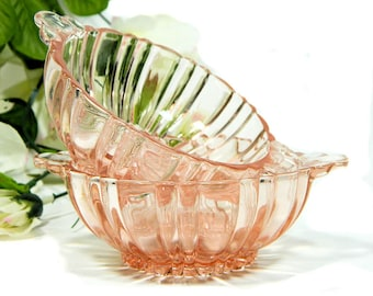 A Pair of Pink Depression Glass Old Cafe Small Lug Handled Bowls
