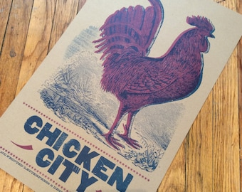 CHICKEN LETTERPRESS POSTER Hand Printed Poster chicken city vintage rooster engraving wood type linocut
